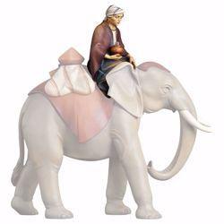 Immagine di Elefantiere seduto cm 25 (9,8 inch) Presepe Cometa dipinto a mano Statua artigianale in legno Val Gardena stile Arabo tradizionale