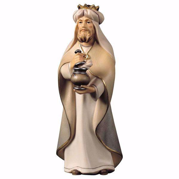 Imagen de Gaspar Rey Mago Blanco de pie cm 25 (9,8 inch) Belén Cometa pintado a mano Estatua artesanal de madera Val Gardena estilo Árabe tradicional