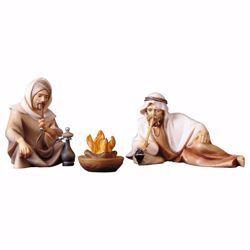Immagine di Gruppo di pastori al falò 3 Pezzi cm 25 (9,8 inch) Presepe Cometa dipinto a mano Statue artigianali in legno Val Gardena stile Arabo tradizionale