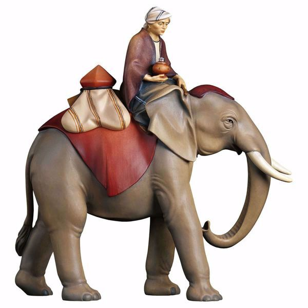 Immagine di Gruppo Elefante con sella gioielli 3 Pezzi cm 25 (9,8 inch) Presepe Cometa dipinto a mano Statue artigianali in legno Val Gardena stile Arabo tradizionale