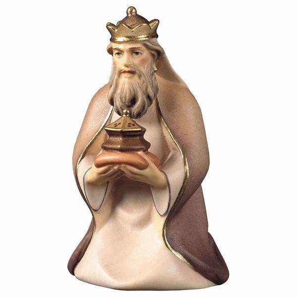 Immagine di Melchiorre Re Magio Mulatto inginocchiato cm 25 (9,8 inch) Presepe Cometa dipinto a mano Statua artigianale in legno Val Gardena stile Arabo tradizionale