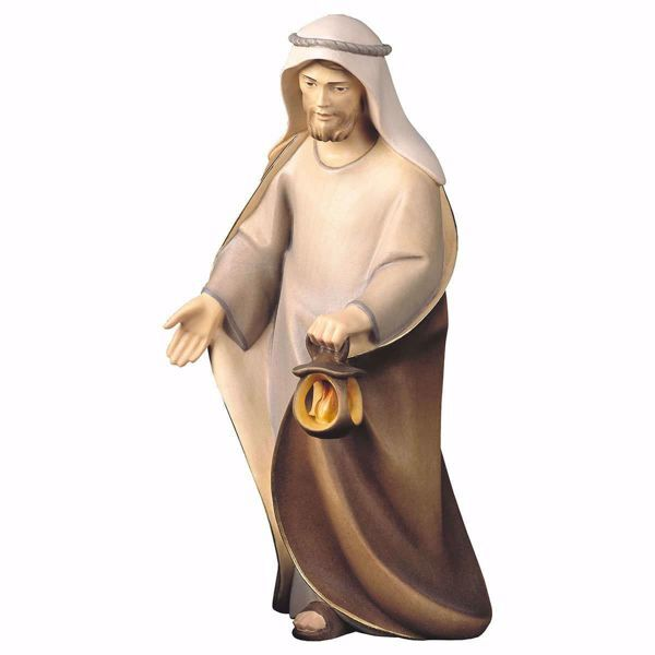 Imagen de San José cm 25 (9,8 inch) Belén Cometa pintado a mano Estatua artesanal de madera Val Gardena estilo Árabe tradicional