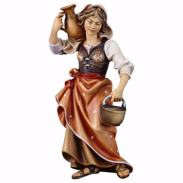 Picture of Peasant Woman with Jug cm 50 (19,7 inch) hand painted Ulrich Nativity Scene Val Gardena wooden Statue baroque style