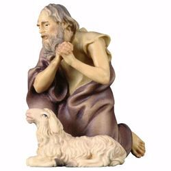 Imagen de Pastor arrodillado con Oveja cm 50 (19,7 inch) Belén Ulrich pintado a mano Estatua artesanal de madera Val Gardena estilo barroco