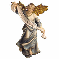 Picture of Blue Glory Angel cm 23 (9,1 inch) hand painted Ulrich Nativity Scene Val Gardena wooden Statue baroque style