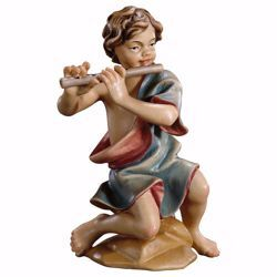 Picture of Kneeling boy with flute cm 23 (9,1 inch) hand painted Ulrich Nativity Scene Val Gardena wooden Statue baroque style