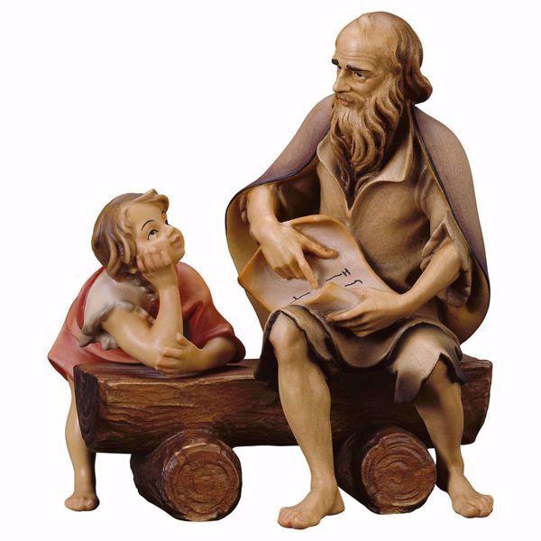 Immagine di Buona Novella 3 Pezzi cm 23 (9,1 inch) Presepe Ulrich dipinto a mano Statue artigianali in legno Val Gardena stile barocco