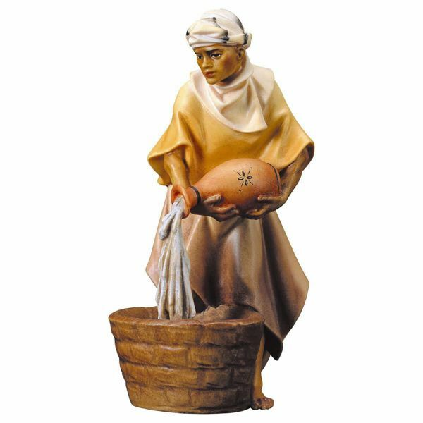 Imagen de Camellero con Jarro cm 23 (9,1 inch) Belén Ulrich pintado a mano Estatua artesanal de madera Val Gardena estilo barroco