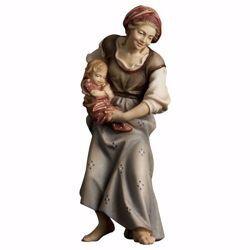 Immagine di Contadina con neonato cm 23 (9,1 inch) Presepe Ulrich dipinto a mano Statua artigianale in legno Val Gardena stile barocco