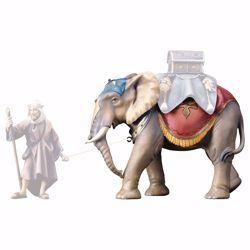 Immagine di Elefante in piedi cm 23 (9,1 inch) Presepe Ulrich dipinto a mano Statua artigianale in legno Val Gardena stile barocco