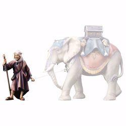 Immagine di Elefantiere in piedi cm 23 (9,1 inch) Presepe Ulrich dipinto a mano Statua artigianale in legno Val Gardena stile barocco