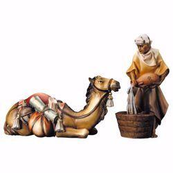 Immagine di Gruppo del cammello sdraiato 2 Pezzi cm 23 (9,1 inch) Presepe Ulrich dipinto a mano Statue artigianali in legno Val Gardena stile barocco