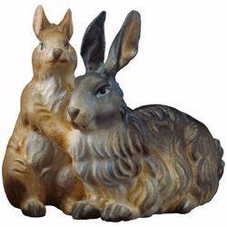 Immagine di Gruppo di conigli cm 23 (9,1 inch) Presepe Ulrich dipinto a mano Statua artigianale in legno Val Gardena stile barocco