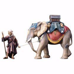 Immagine di Gruppo Elefante con Sella Bagagli 3 Pezzi cm 23 (9,1 inch) Presepe Ulrich dipinto a mano Statue artigianali in legno Val Gardena stile barocco