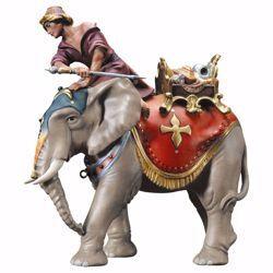 Immagine di Gruppo Elefante con sella gioielli 3 Pezzi cm 23 (9,1 inch) Presepe Ulrich dipinto a mano Statue artigianali in legno Val Gardena stile barocco