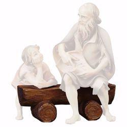 Immagine di Panchina cm 23 (9,1 inch) Presepe Ulrich dipinto a mano Statua artigianale in legno Val Gardena stile barocco