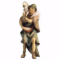 Immagine di Pastore con pecora sulle spalle cm 23 (9,1 inch) Presepe Ulrich dipinto a mano Statua artigianale in legno Val Gardena stile barocco