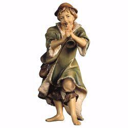Immagine di Pastore con tromba cm 23 (9,1 inch) Presepe Ulrich dipinto a mano Statua artigianale in legno Val Gardena stile barocco
