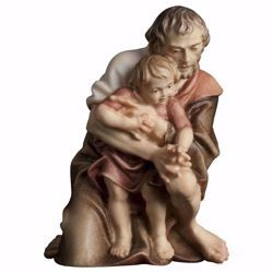 Immagine di Pastore inginocchiato con bambino cm 23 (9,1 inch) Presepe Ulrich dipinto a mano Statua artigianale in legno Val Gardena stile barocco
