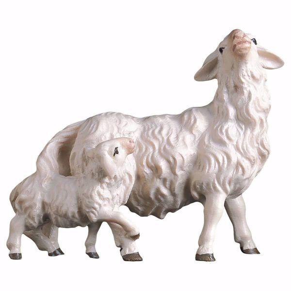 Immagine di Pecora con agnello dietro cm 23 (9,1 inch) Presepe Ulrich dipinto a mano Statua artigianale in legno Val Gardena stile barocco
