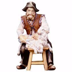 Immagine di Pecoraio seduto cm 23 (9,1 inch) Presepe Ulrich dipinto a mano Statua artigianale in legno Val Gardena stile barocco