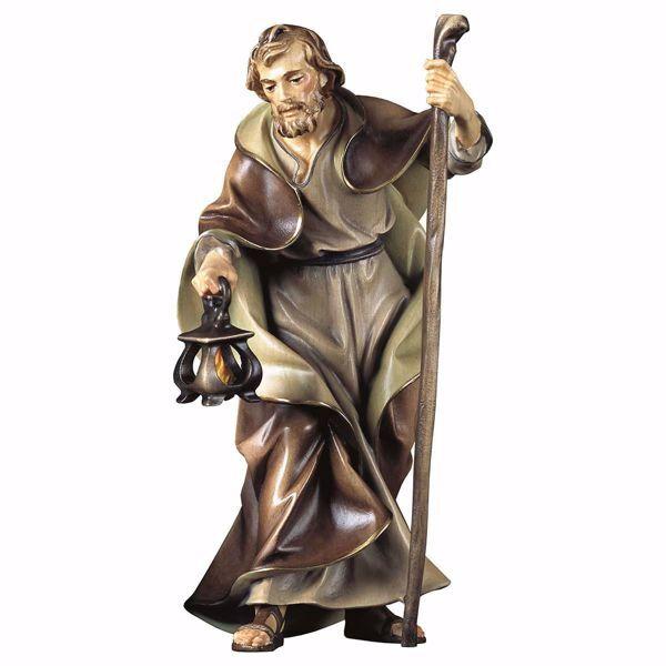 Immagine di San Giuseppe cm 23 (9,1 inch) Presepe Ulrich dipinto a mano Statua artigianale in legno Val Gardena stile barocco