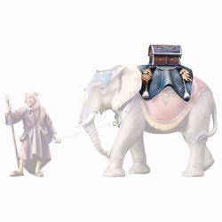 Immagine di Sella bagagli per elefante in piedi cm 23 (9,1 inch) Presepe Ulrich dipinto a mano Statua artigianale in legno Val Gardena stile barocco