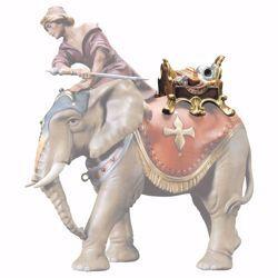 Immagine di Sella gioielli per elefante in piedi cm 23 (9,1 inch) Presepe Ulrich dipinto a mano Statua artigianale in legno Val Gardena stile barocco