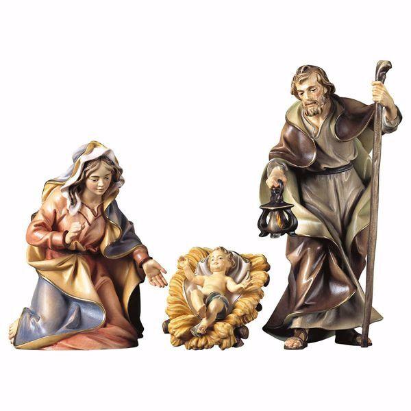 Immagine di Sacra Famiglia 4 Pezzi cm 23 (9,1 inch) Presepe Ulrich dipinto a mano Statue artigianali in legno Val Gardena stile barocco