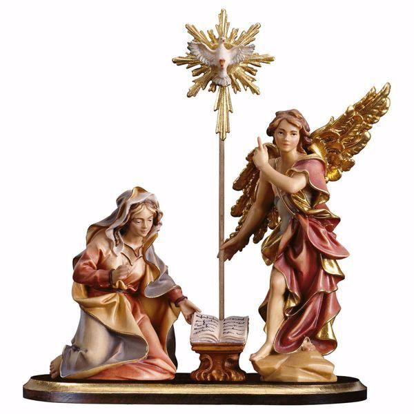 Immagine di Gruppo Annunciazione su piedistallo 5 Pezzi cm 10 (3,9 inch) Presepe Ulrich dipinto a mano Statue artigianali in legno Val Gardena stile barocco