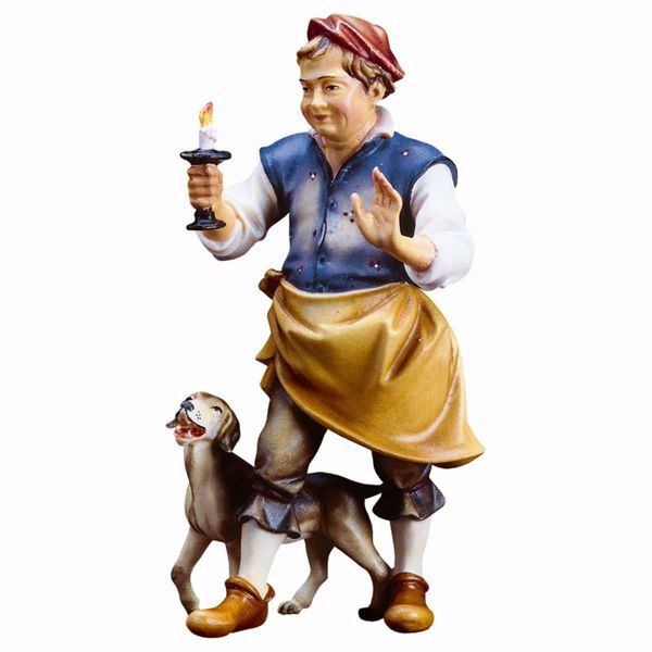 Picture of Host with Dog cm 10 (3,9 inch) hand painted Ulrich Nativity Scene Val Gardena wooden Statue baroque style