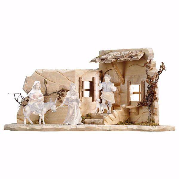 Picture of Harborage cm 10 (3,9 inch) hand painted Ulrich Nativity Scene Val Gardena wooden Statue baroque style