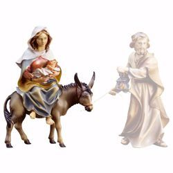 Picture of Mary / Madonna on donkey  with infant Jesus cm 10 (3,9 inch) hand painted Ulrich Nativity Scene Val Gardena wooden Statue baroque style
