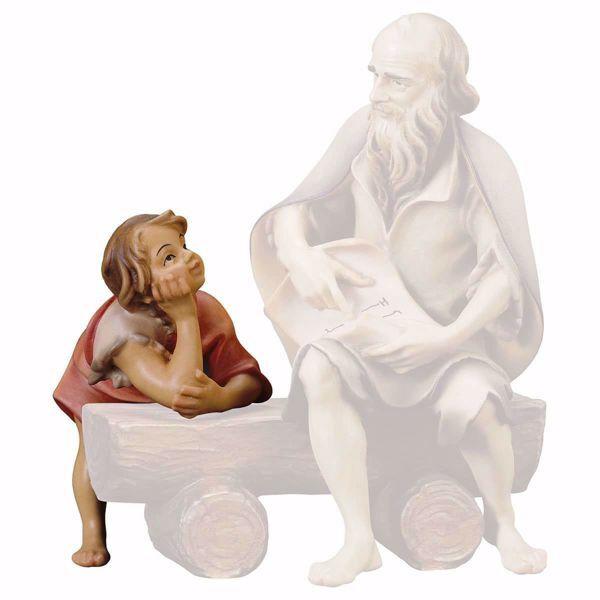 Immagine di Bambino che ascolta cm 8 (3,1 inch) Presepe Ulrich dipinto a mano Statua artigianale in legno Val Gardena stile barocco