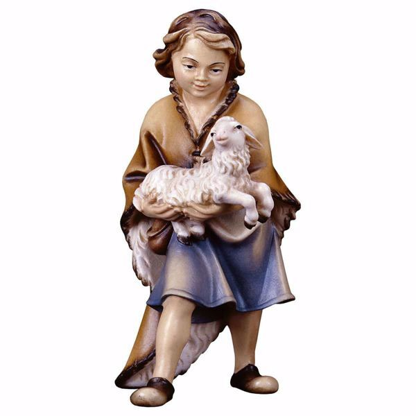 Picture of Boy with Lamb cm 8 (3,1 inch) hand painted Ulrich Nativity Scene Val Gardena wooden Statue baroque style