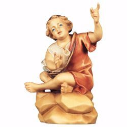 Picture of Sitting Boy at Fireplace cm 8 (3,1 inch) hand painted Ulrich Nativity Scene Val Gardena wooden Statue baroque style
