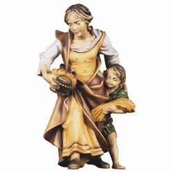 Picture of Peasant Woman with Boy cm 8 (3,1 inch) hand painted Ulrich Nativity Scene Val Gardena wooden Statue baroque style