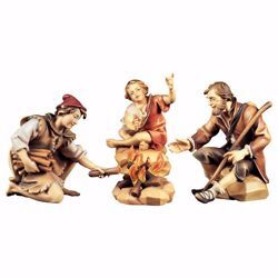Picture of Herders group at the Fireplace 4 Pieces cm 8 (3,1 inch) hand painted Ulrich Nativity Scene Val Gardena wooden Statues baroque style