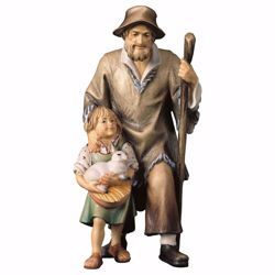 Picture of Herder with Girl cm 8 (3,1 inch) hand painted Ulrich Nativity Scene Val Gardena wooden Statue baroque style