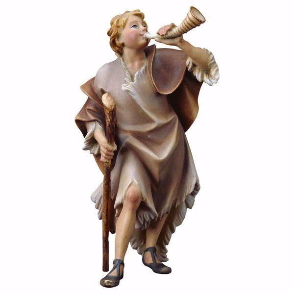 Immagine di Pastore con corno cm 8 (3,1 inch) Presepe Ulrich dipinto a mano Statua artigianale in legno Val Gardena stile barocco