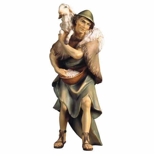 Immagine di Pastore con pecora sulle spalle cm 8 (3,1 inch) Presepe Ulrich dipinto a mano Statua artigianale in legno Val Gardena stile barocco