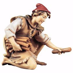 Picture of Kneeling Herder with Wood cm 8 (3,1 inch) hand painted Ulrich Nativity Scene Val Gardena wooden Statue baroque style
