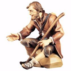 Picture of Sitting Shepherd with Stick cm 8 (3,1 inch) hand painted Ulrich Nativity Scene Val Gardena wooden Statue baroque style