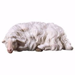 Picture of Sleeping Sheep cm 8 (3,1 inch) hand painted Ulrich Nativity Scene Val Gardena wooden Statue baroque style
