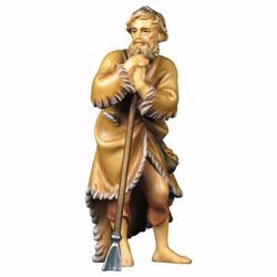 Picture of Shepherd with Hoe cm 8 (3,1 inch) hand painted Ulrich Nativity Scene Val Gardena wooden Statue baroque style