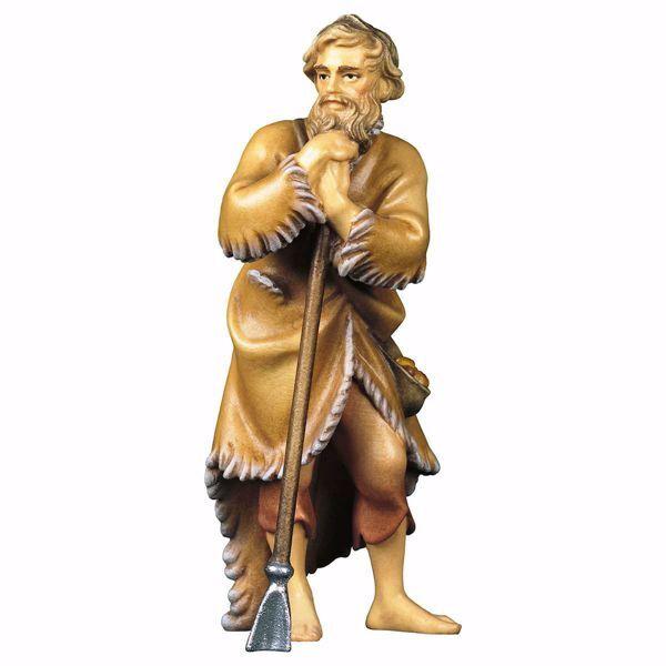 Immagine di Pecoraio con zappa cm 8 (3,1 inch) Presepe Ulrich dipinto a mano Statua artigianale in legno Val Gardena stile barocco