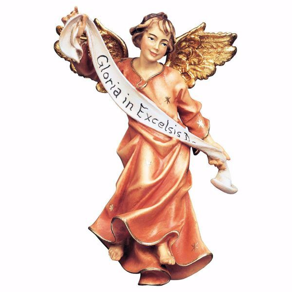 Picture of Red Glory Angel cm 15 (5,9 inch) hand painted Ulrich Nativity Scene Val Gardena wooden Statue baroque style