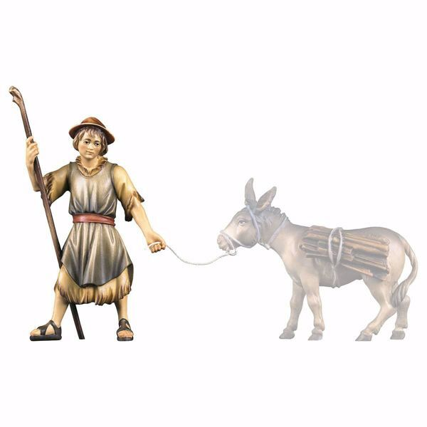Picture of Shepherd pulling cm 15 (5,9 inch) hand painted Ulrich Nativity Scene Val Gardena wooden Statue baroque style