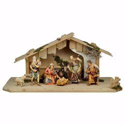 Picture of Ulrich Nativity Set 10 Pieces cm 15 (5,9 inch) hand painted Val Gardena wooden Statues