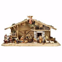 Picture of Ulrich Nativity Set 18 Pieces cm 15 (5,9 inch) hand painted Val Gardena wooden Statues